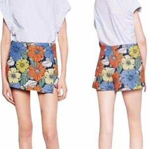 Zara Floral Culotte Skort Shorts